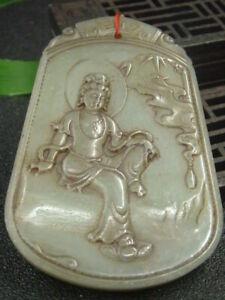 Chinese Antique Celadon Nephrite Hetian-Jade KUAN YIN Statues/Pendant537