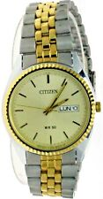 New Old Stock Citizen Round Watch Yellow Dial S/ Steel Day Date W-R 250A-B01957M