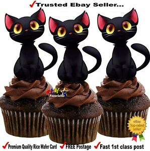 12 x BLACK CATS ~ Halloween - STAND UPS Edible Wafer Card Cup Cake Toppers Party