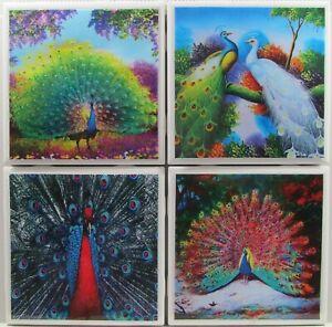 Ceramic Tile Coaster - Peacocks - Set of 4 Drink /Bar Coaster - Marble  3A