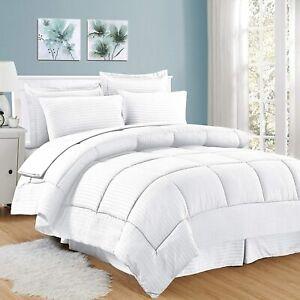 Stitch Down Alternative 3 Piece Stripe Comforter Set 100% Cotton All size &color