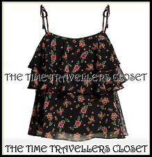 BNWT Rebecca Minkoff Atlas Square-neck Floral Tiered Top Black UK 6 34 2 RP £75