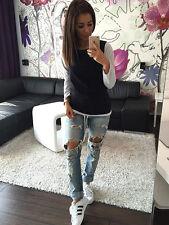 Damen Top T-shirt Langarmshirt Pullover Herbst Lässig Oberteil 34 36 38 40 42