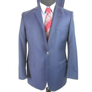 Oliver Wicks Angelico Super 100 Solid Blue Suit Mens 42R Pants 36 x 32 Italy