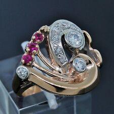 Handmade Art Deco 18K Rose/White Gold Diamond Ruby Vintage Band Ring Size 4.75