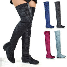 Womens Flat Long Sock Boots Thigh High Stretch Calf Ladies Over The Knee Shoes