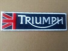TRIUMPH MOTORCYCLE OR CAR  STYLE SEW OR IRON ON  PATCH (TRADITIONAL NAVY BLUE)'