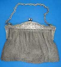 """ANTIQUE FRENCH 19c. ORNATE A. VAGUER STERLING CHAIN MAIL MESH PURSE 9"""" W /446g"""