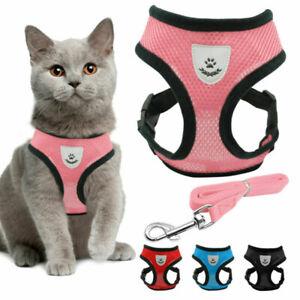 Cat Walking Jacket Harness and Leads Escape Proof Pet Dog Adjustable Mesh Vest
