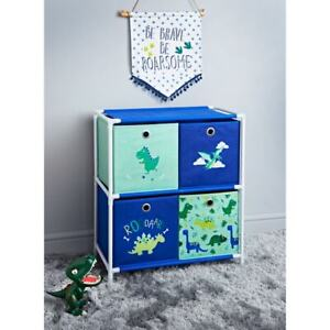 Dinosaur & Unicorn 4 Drawer Chest Storage Unit For Kids Room