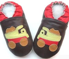 soft sole leather baby boy crawling shoes track brown 6-12m US 3-4 free shipping