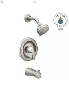 MOEN Adler 82613SRN 1-Handle 4-Spray Tub and Shower Faucet Valve Brushed Nickel