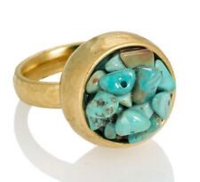 Unique Hammered Yellow Gold 24K Plated Ring Set With Turquoise Stones Sz 8