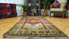 """Exquisite Antique 1940-1950s Natural Colors Wool Pile Tribal Rug 3'6""""x 7'6"""""""