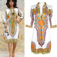 African Women Dashiki Party Hippie Traditional Tribal Casual Short Mini Dresses