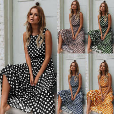 Womens Sleeveless Polka Dot Maxi Dress Ladies Summer Beach Holiday Vintage Dress