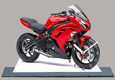 MODEL CARS, MOTO, BIKE, KAWASAKI ER 6F RED -24 with Clock,11,8x 7,8 inches,