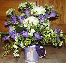 Angel Mug Gift Lavender Floral Silk Flowers Arrangements Color for all Cancers