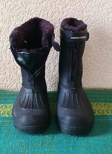 Cotton Traders Waterproof Black Faux Fur Lined Snow Boots Zip Fastening Size 5