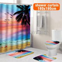3/4pcs Beach Bathroom Polyester Shower Curtain Non Slip Toilet Cover Rug   US