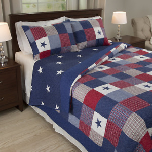 Americana Bedding Stars 3 pc Quilt Set King Size Red White and Blue Country New