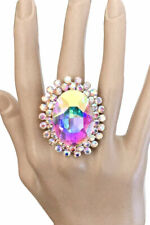 Oversized Oval AB Cabochon Rhinestones Stretch Ring Drag Queen Pageant Bridal