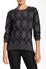 Haute Hippie Charcoal Argyle Merino Wool Sweater Top Size XS