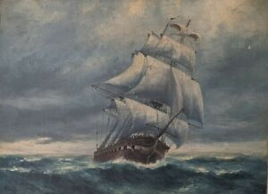 Antique Ship Seascape Oil Painting On Canvas Early - mid 20th Century, Nautical