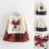 Toddler Child Kids Baby Girl Winter Bunny Floral Princess Party Dress Clothes R