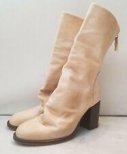 Free People Elle Block Heel Boots Beige Slouch Leather Size 40 EUC