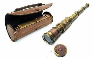 telescopio antiguo laton nautico marinero estuche observacion aves senderism