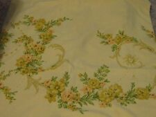 ROUGH Yellow queen size flat sheet roses floral scroll cutter fabric material