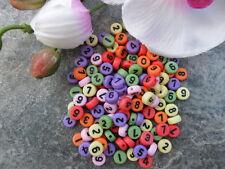 (13) 250 Perlen Kunststoff 7 mm Zahlen 0-9  Buntmix  Armkette Datum Basteln