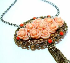 ANTIQUE ANGEL SKIN CARVED CORAL ROSES NECKLACE PENDANT orange coral BEAD  BRASS