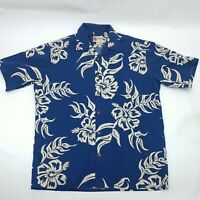 VTG Hilo Hattie Mens Blue Hawaiian Floral Short Sleeve Button Down Shirt Size L