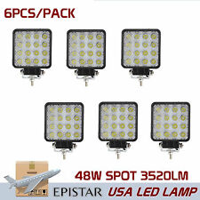 6X 48W Spot LED Off Road Work Light Lamp 12V 24V Car Boat Truck Driving Vehicle