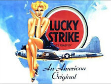 Lucky Strike Cigarettes, Pin-up Girl, B-17 WW2 US Aircraft, Small Metal Tin Sign