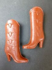 VINTAGE BARBIE DOLL BROWN MOLDED PLASTIC COWBOY BOOTS SHOES LONGHORN