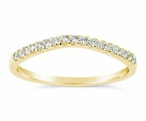 14K Yellow Gold Simulated Diamond Wedding band Ring Curved 0.20 Carat Guard