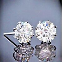 2.00 Ct Round Moissanite Solitaire Stud Earrings 14K White Gold FN Gift Jewelry