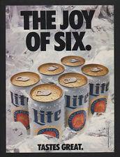 1989 MILLER LITE Beer - THE JOY OF SIX - SEX - TASTES GREAT - 6 Pack VINTAGE AD