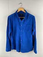 21 Men Mens Vintage Long Sleeve Corduroy Shirt Size Small Blue