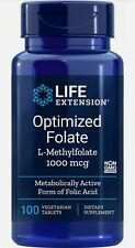 Optimized Folate (L-Methylfolate)(New Formula) Life Extension 100 Vegtarian Tabl