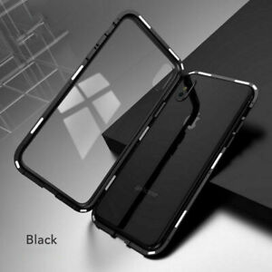 For iPhone XS MAX X 360� Full Cover Magnetic Absorption Clear Glass+Metal Case