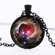 Galaxy Nebula Black/Bronze/Tibet silver glass dome chain Pendant Necklace