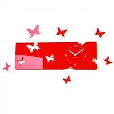 Modern Red Butterflies Large DIY Wall Clock Decor Home Living Room Bedroom