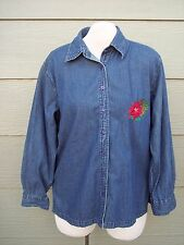 Gunit Fashions Womens Christmas Holiday Shirt Tunic Sz XL 48B Blue Denim Floral
