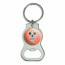 Happy Halloween Fun Floral Skull Bottle Cap Opener Keychain Key Ring