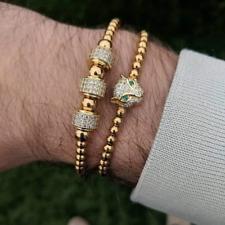 2020 Leopard Head Adjustable 4mm Beads Pave Zircon Bracelets Men Women Jewelry