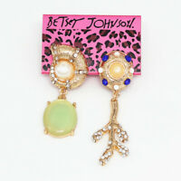Betsey Johnson Women's Fashion Crystal Pearl Resin Ear Stud Asymmetry Earrings